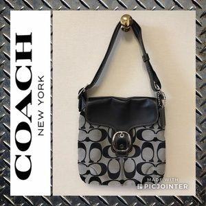 Black Coach Saddle Shoulder / Crossbody Bag F13360